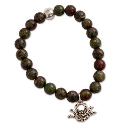 Green Agate Beaded Stretch Bracelet with Axolotl Charm