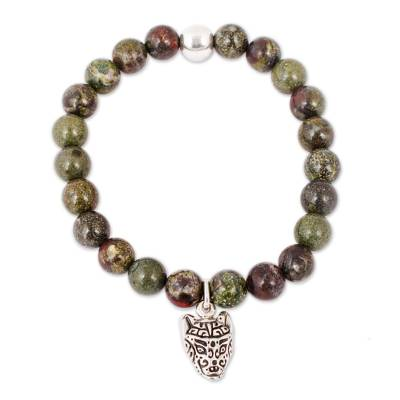 Green Agate Beaded Stretch Bracelet with Wolf Charm