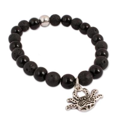 Onyx and Lava Stone Axolotl Stretch Bracelet from Mexico
