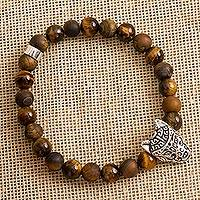 Tiger's eye beaded stretch bracelet, 'Stylized Wolf' - Tiger's Eye Wolf Beaded Stretch Bracelet from Mexico