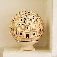 Ceramic lantern, 'Starry Hacienda' - Hacienda-Themed Round Ceramic Lantern from Mexico