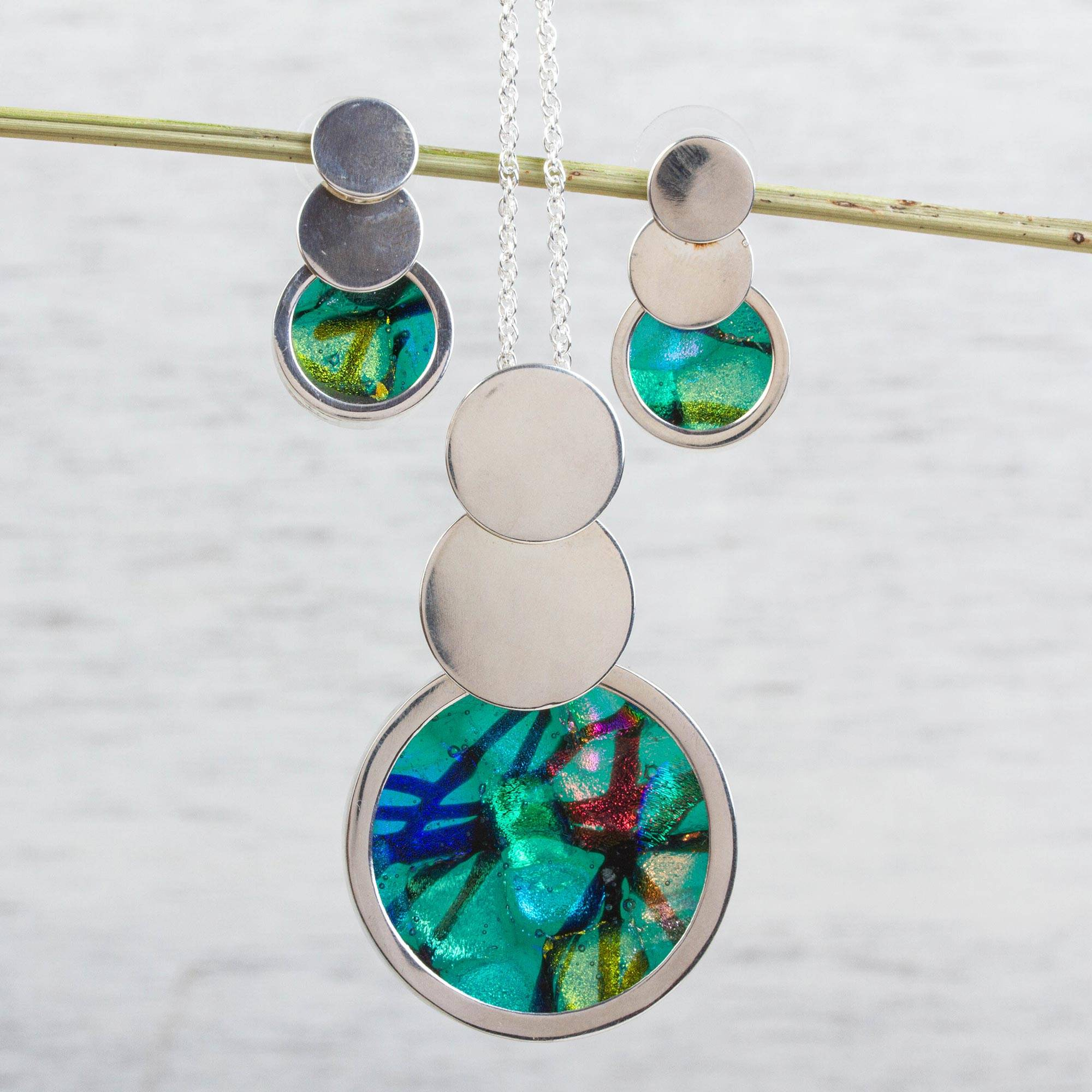 New Mexico Sky fused glass pendant