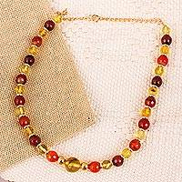 Gold plated amber and agate beaded necklace, 'Wine Garland' - Gold Plated Amber and Agate Beaded Necklace from Mexico