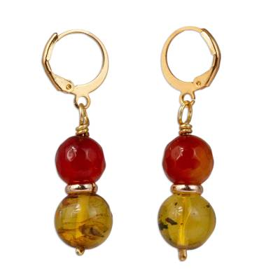 Gold Accented Agate and Amber Beaded Dangle Earrings