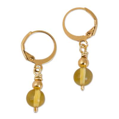 Gold Plated Natural Amber Dangle Earrings from Mexico