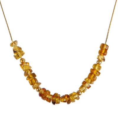 Gold Plated Amber Beaded Necklace from Mexico
