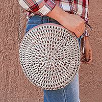 Recycled pop-top evening handbag, 'Glimmering Circle' - Recycled Aluminum Pop-Top Evening Handbag from Mexico