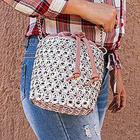 Recycled pop-top bucket bag, 'Glimmering Companion' - Recycled Aluminum Pop-Top Bucket Bag from Mexico