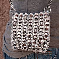 Recycled pop-top coin purse, 'Petite Glimmer' - Recycled Aluminum Pop-Top Coin Purse from Mexico