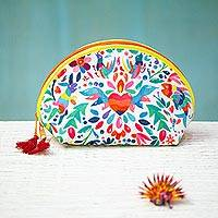 Printed cosmetic bag, 'Otomi Designs in White' (9 inch) - Otomi-Inspired Printed Cosmetic Bag in White (9 Inch)