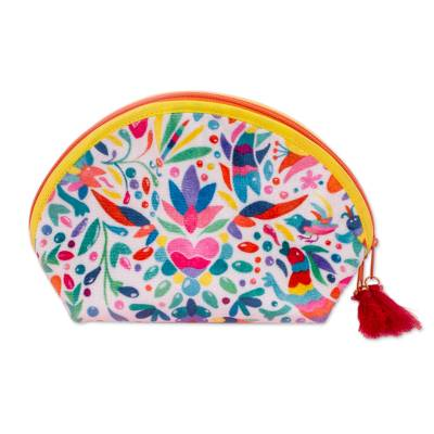 Otomi-Inspired Printed Cosmetic Bag in White (9 Inch)