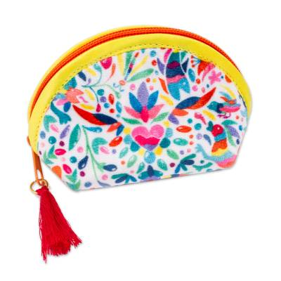 Otomi-Inspired Printed Cosmetic Bag in White (5 Inch)