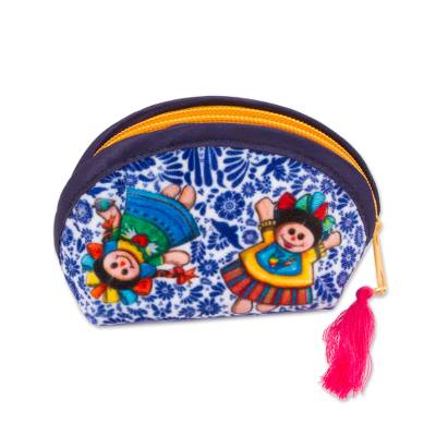 Talavera-Inspired Printed Cosmetic Bag from Mexico (5 Inch)