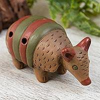 Ceramic ocarina, 'Cute Armadillo' - Handmade Ceramic Armadillo Ocarina from Mexico