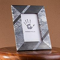 Marble photo frame, 'Modern Lines in Grey' (4x6) - Modern Grey Marble Photo Frame from Mexico (4x6)