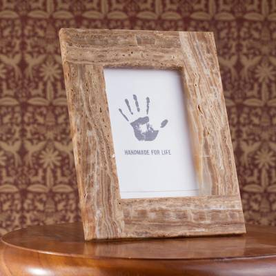 Marble photo frame, 'Café Memories' (4x6) - Brown Marble Photo Frame Crafted in Mexico (4x6)