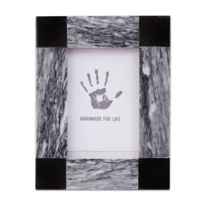 Marble photo frame, 'Grey Energy' (4x6) - Grey and Black Marble Photo Frame from Mexico (4x6)