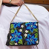 Leather accented cotton sling, 'Yucatan Flowers' - Leather Accented Cotton Sling with Blue Floral Embroidery