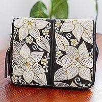 Leather accented cotton sling, 'White Flowers' - Leather Accented Cotton Sling with White Floral Embroidery