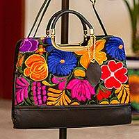 Cotton accent leather handbag, 'Flowers of Milan' - Floral Cotton Accent Leather Handbag from Mexico