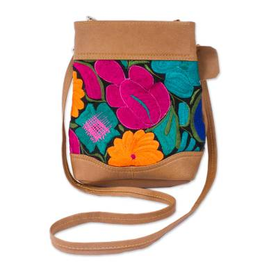 Floral Cotton accent Leather Sling in Ginger from Mexico