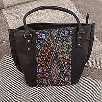 Cotton accent leather shoulder bag, 'Otomi Geometry' - Geometric Pattern Cotton Accent Leather Shoulder Bag