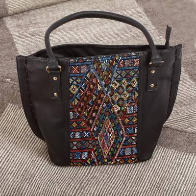 Cotton accent leather shoulder bag, Otomi Geometry