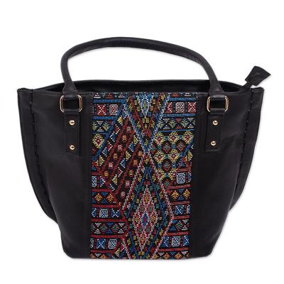 Cotton accent leather shoulder bag, 'Otomi Geometry' - Geometric Pattern Cotton Accent Leather Shoulder Bag