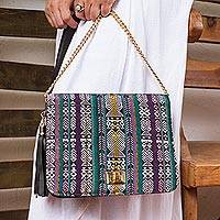 Leather accented cotton sling, 'Maya Traveler' - Mayan Pattern Leather Accented Cotton Sling from Mexico