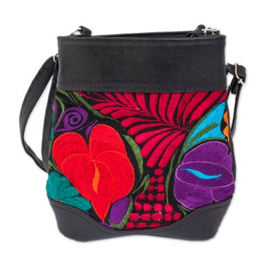 Floral Cotton Accent Leather Sling in Black from Mexico