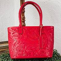 Leather shoulder bag, 'Floral Ancestry in Crimson' - Floral Pattern Leather Shoulder Bag in Crimson from Mexico