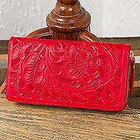 Leather wallet, 'Floral Pattern in Crimson' - Floral Patterned Leather Wallet in Crimson from Mexico