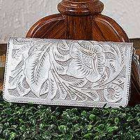 Leather wallet, 'Floral Pattern in Silver' - Floral Patterned Leather Wallet in Silver from Mexico