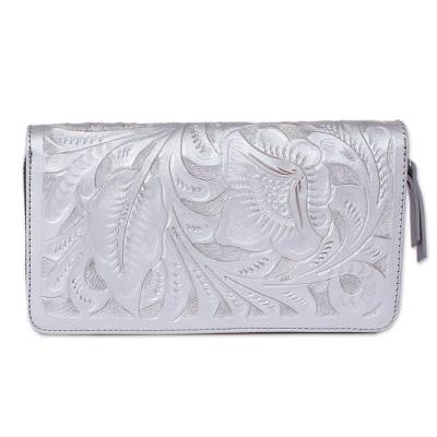 Floral Patterned Leather Wallet in Silver from Mexico