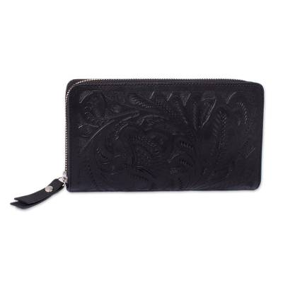 Floral Patterned Leather Wallet in Black from Mexico