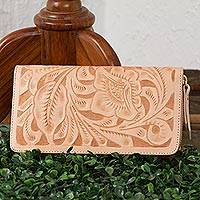 Leather wallet, 'Floral Pattern in Buff' - Floral Patterned Leather Wallet in Buff from Mexico