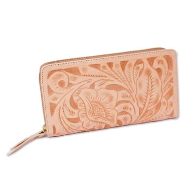 Floral Patterned Leather Wallet in Buff from Mexico