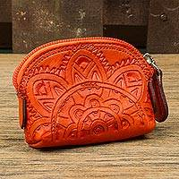 Leather coin purse, 'Beautiful Tradition in Scarlet' - Floral Pattern Leather Coin Purse in Scarlet from Mexico