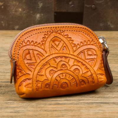 Leather coin purse, 'Beautiful Tradition in Ginger' - Floral Pattern Leather Coin Purse in Ginger from Mexico