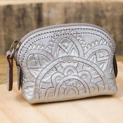 Leather coin purse, 'Beautiful Tradition in Silver' - Floral Pattern Leather Coin Purse in Silver from Mexico