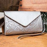 Leather handbag, 'Historic Floral in Silver' - Floral Pattern Leather Handbag in Silver from Mexico