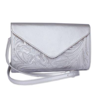 Floral Pattern Leather Handbag in Silver from Mexico