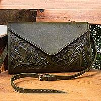 Leather handbag, 'Historic Floral in Moss' - Floral Pattern Leather Handbag in Moss from Mexico