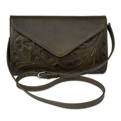 Floral Pattern Leather Handbag in Moss from Mexico