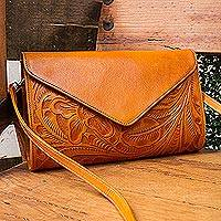 Leather handbag, 'Historic Floral in Ginger' - Floral Pattern Leather Handbag in Ginger from Mexico