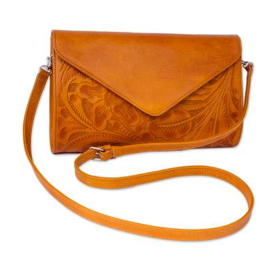 Floral Pattern Leather Handbag in Ginger from Mexico