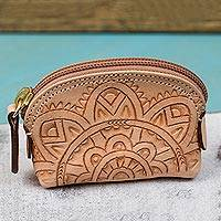 Leather coin purse, 'Beautiful Tradition in Buff' - Floral Pattern Leather Coin Purse in Buff from Mexico