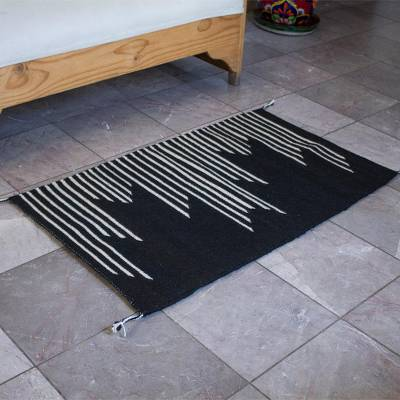 Wool area rug, 'Modern Lines' (2x3) - Modern Black and Ecru Wool Area Rug from Mexico (2x3)