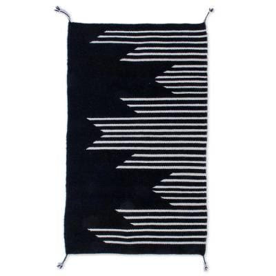 Modern Black and Ecru Wool Area Rug from Mexico (2x3)