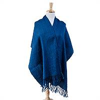 Cotton rebozo shawl, 'Atlantis' - Azure Cotton Shawl with Natural Dyes from Mexico